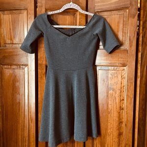 Zara Off Shoulder Gray Skater Dress